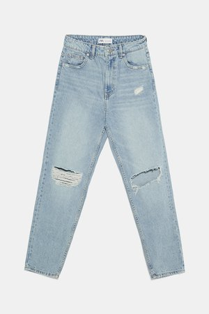 RIPPED MOM FIT JEANS - BEST SELLERS-WOMAN | ZARA United States blue