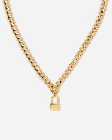 Tess + Tricia Gold Lock Collar Necklace | Express