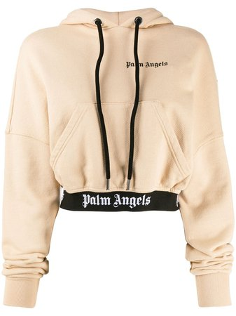 Palm Angels cropped logo hoodie $535 - Buy Online AW19 - Quick Shipping, Price