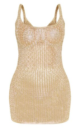 Gold Metallic Knitted Dress   PrettyLittleThing