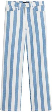 High-Rise Wide-Leg Stripe Cropped Jean