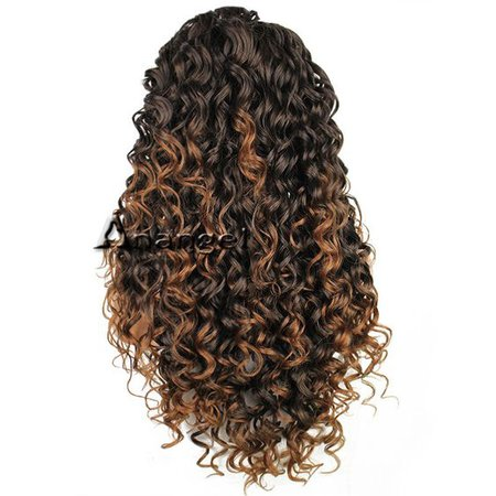 Anogol Curly Long Synthetic Front Lace Wig