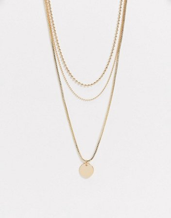 Topshop multirow necklace in gold with circle coin pendant | ASOS