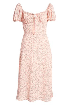 Row A Floral Sweetheart Neck Midi Dress | Nordstrom