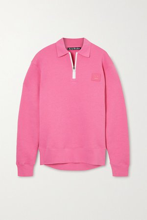 Appliqued Cotton-jersey Sweatshirt - Pink