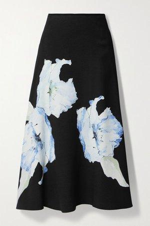 Floral-print Cady Midi Skirt - Black