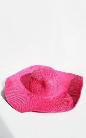 Pink Wide Brim Floppy Hat | Accessories | PrettyLittleThing