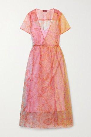 Filippa Floral-print Chiffon Wrap Midi Dress - Pink