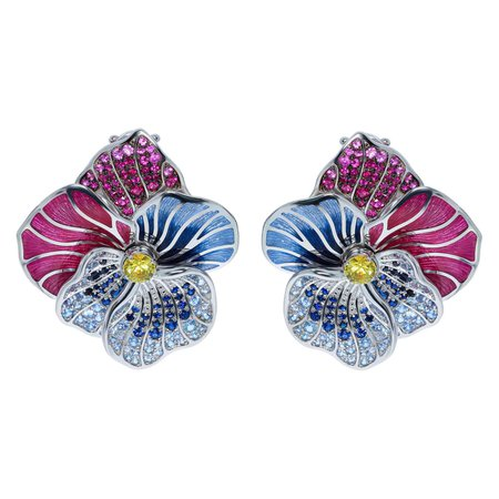 Mousson Atelier Yellow Pink Blue Sapphires Ruby 18 Karat White Gold Violet Earrings