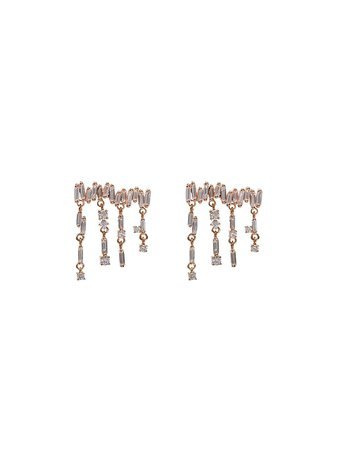 Suzanne Kalan 18Kt Rose Gold Diamond Baguette Drop Earrings BAE490RG Metallic | Farfetch