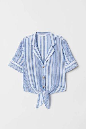 Linen-blend Blouse - Blue