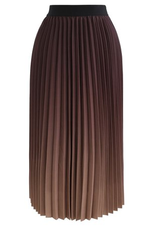Nightfall Gradient Pleated Midi Skirt - Retro, Indie and Unique Fashion