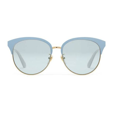 Specialized fit round-frame metal sunglasses in Gold metal frame with light blue brow bar, inspired by 1950s styling | Gucci Women's Cat Eye