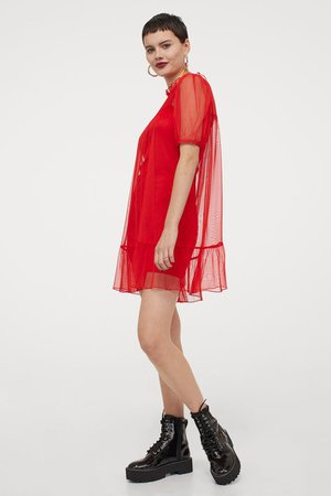 Puff-sleeved dress - Red - Ladies | H&M GB