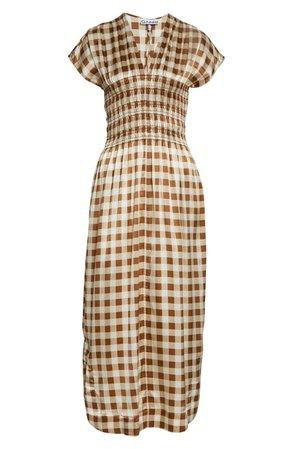 Ganni Gingham Smocked Waist Stretch Silk Midi Dress | Nordstrom