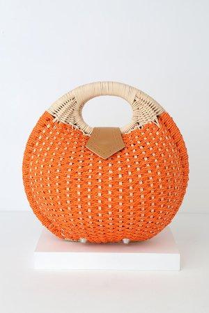 Cute Orange Purse - Circle Purse - Woven Purse - Round Purse