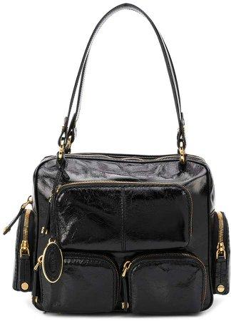 multi-pocket leather handbag
