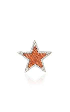 Star 18K Gold, Diamond And Sapphire Brooch by Sabbadini   Moda Operandi