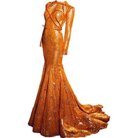 Long Sleeve Orange Evening Gown