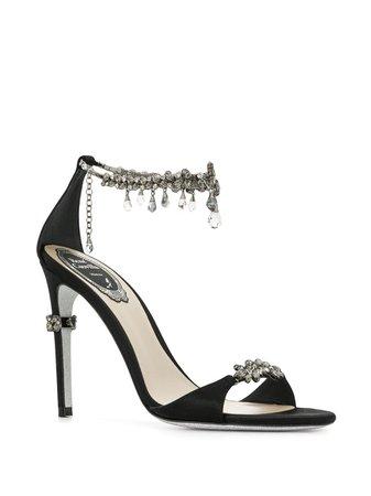 René Caovilla Embellished Satin Sandals - Farfetch
