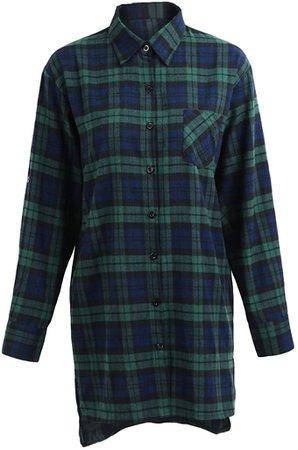 Romacci Women Oversized Plaid Tartan Shirt Buttons Pocket Turn-Down Collar Boyfriend Long Sleeve Baggy Check Blouse Tee Shirt at Amazon Women's Clothing store