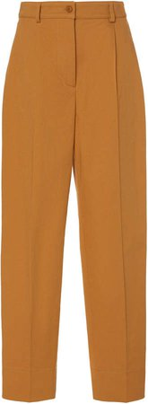 Cotton-Stretch Wide-Leg Pants