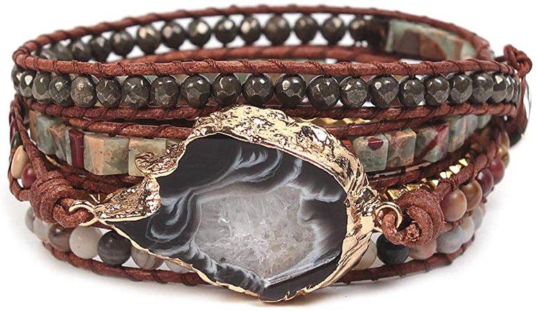 Bonnie Gemstone Wrap Bracelet Cuff 5 Wraps Agate Bead Leather Bracelet & Gold Plated Agate Druzy Geode Slice Stone Tree of Life Bracelet for Women (4mm Banboo Leaf Agate): Jewelry