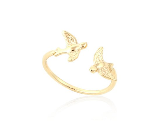 Gold Bird Ring Gold Ring Adjustable Gold Bird Ring Open