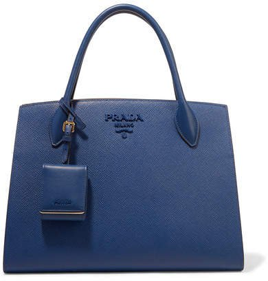 Textured-leather Tote - Storm blue