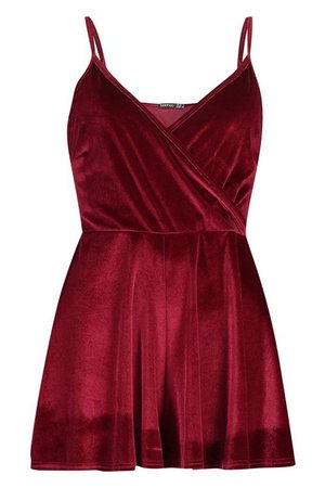 Velvet Wrap Front Cami Playsuit | Boohoo