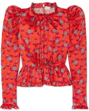 Normandy Ruffle-trimmed Floral-print Silk-satin Peplum Blouse - Bright orange