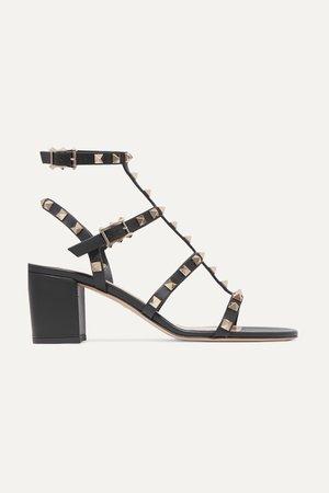 Black Valentino Garavani Rockstud 60 leather sandals | Valentino | NET-A-PORTER