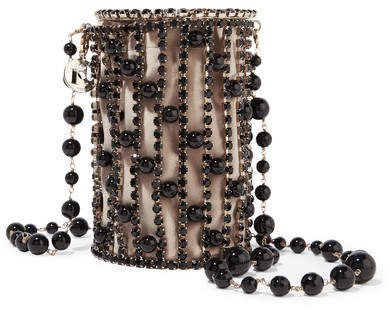 Bead And Crystal Embellished Gold-tone Shoulder Bag - Black