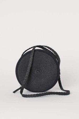 Straw Shoulder Bag - Black
