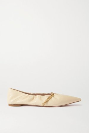 Chain-embellished Leather Point-toe Flats - Beige