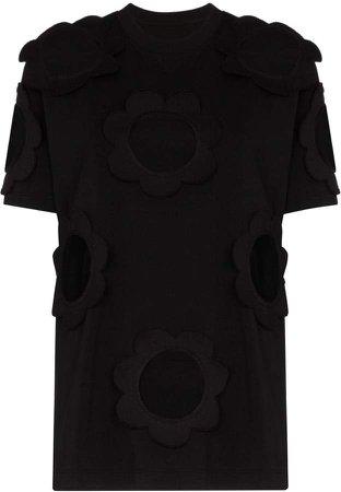 cutout cotton-blend jersey T-shirt