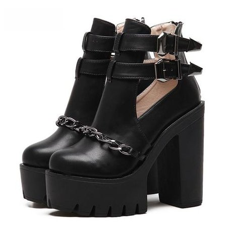 Buckle Chain Ankle Platform Boots