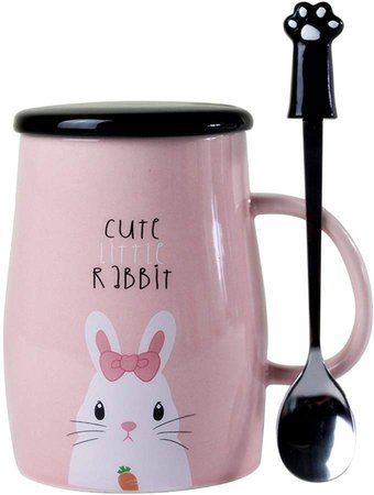 Angelice Home Pink Cute Cat Mug, Funny Ceramic Cat Coffee Cup with Spoon, Novelty Coffee Mug Gift for Coffee Tea: Amazon.ca: Home & Kitchen