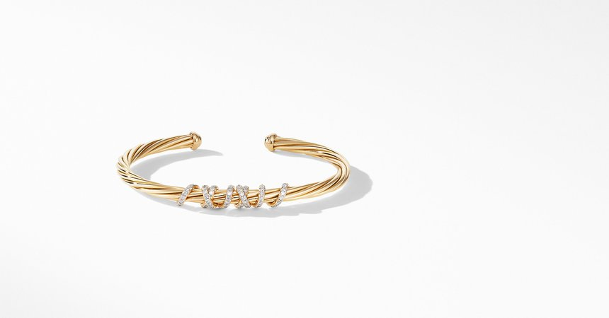 David Yurman Helena Center Station Bracelet in 18K Yellow Gold with Diamonds
