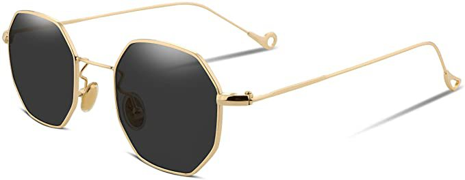 Amazon.com: FEISEDY Hipster Small Polygon Women Men Sunglasses Delicate Metal Frame B2254: Clothing