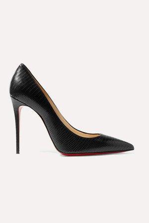 Kate 100 Lizard-effect Leather Pumps - Black