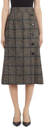 Button Detail Check Wool Blend Skirt
