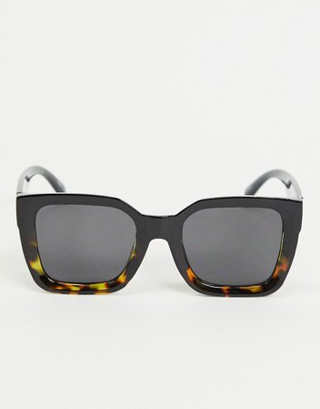 Pieces oversized square sunglasses in black and tortoiseshell ombre   ASOS