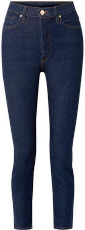 The High Rise Slim-leg Jeans - Dark denim