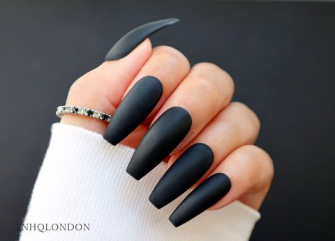Black Matte Coffin Long