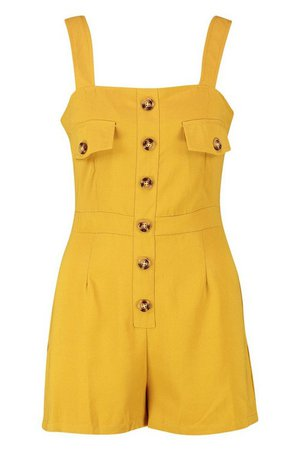 Utility Cargo Horn Button Pocket Playsuit | Boohoo yellow