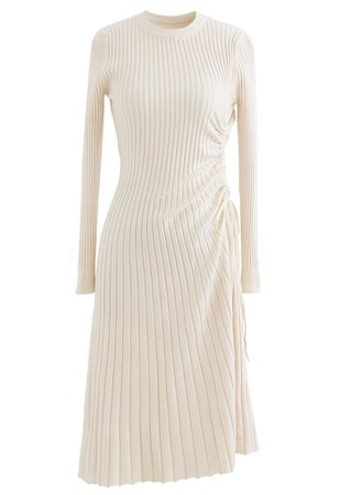 Side Drawstring Ribbed Knit Midi Dress in Ivory - Retro, Indie and Unique Fashion