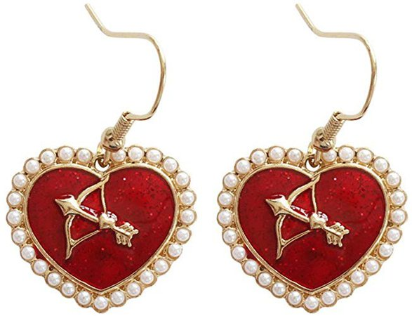 Amazon.com: 18K Gold Plated imitation pearls Sided Cupid arrow insert Red Heart Charm Women Dangle earrings: Jewelry