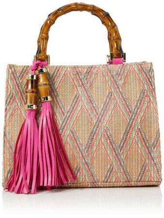 Joe Browns Womens Weaved Boho Beach Bag with Bamboo Handles Pink Multi | eBay