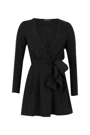 Tall Plunge Drape Detail Skater Dress | boohoo black